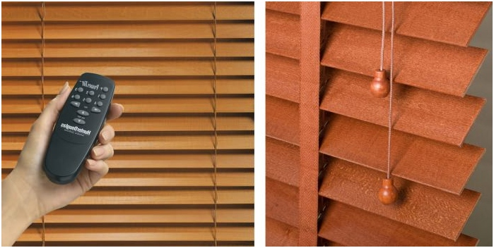 types of blinds on the way of opening: manual, electromechanical