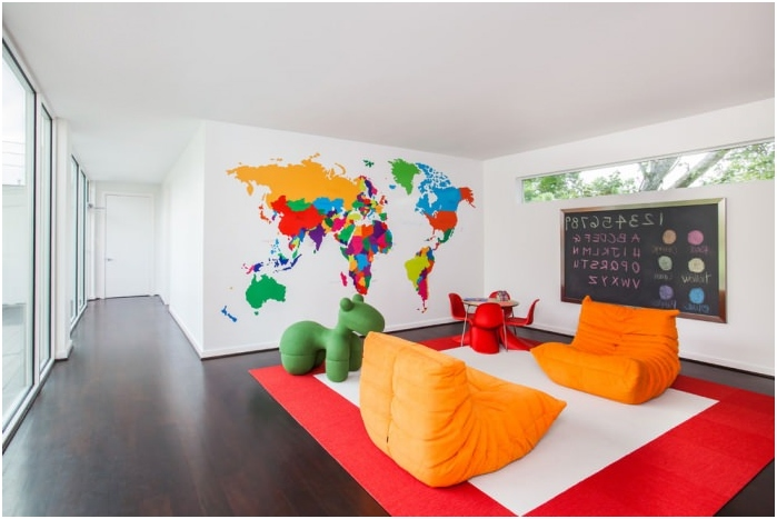 map of the world in the living room interior
