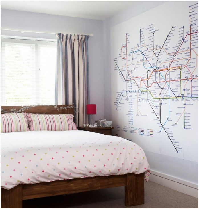 subway map in the interior of the bedroom