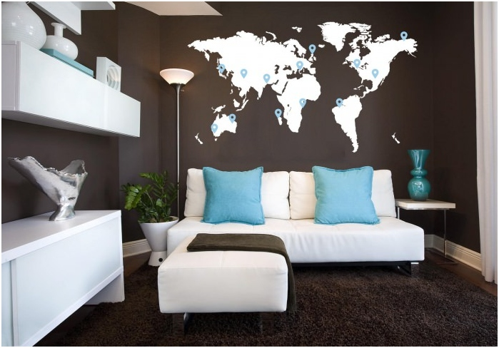 world map on the wall in the living room