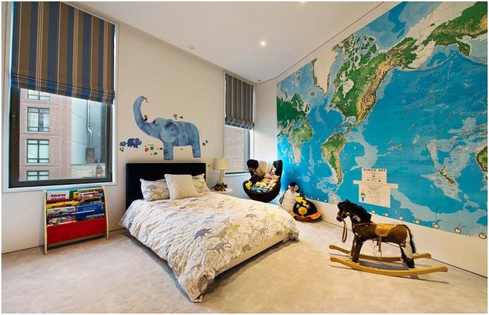 map of the world in the interior of child