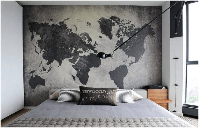 map of the world in the headboard