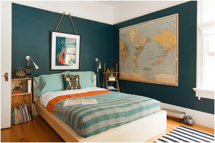 map of the world in the interior of a bedroom