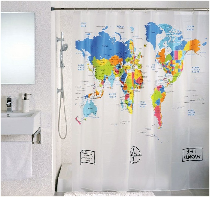 map of the world on the curtains in the bathroom
