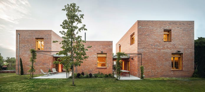 beautiful brick facade in a modern style