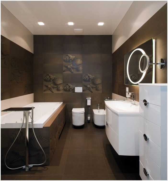 a bathroom in shades of brown