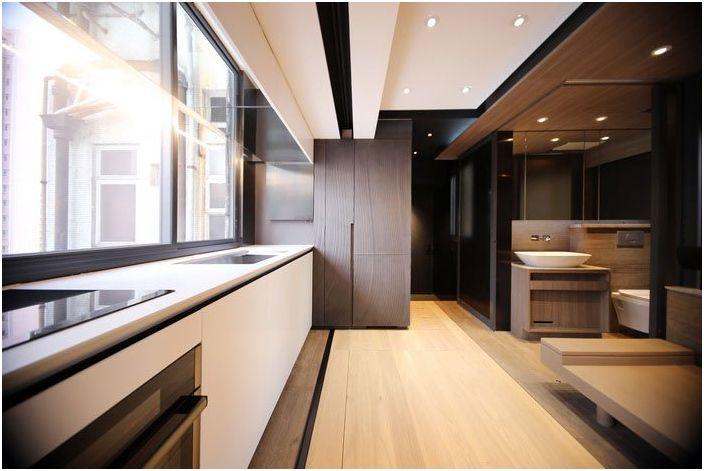 Апартамент-трансформатор: как да се сложи всичко на 28-те квадратни метра. м