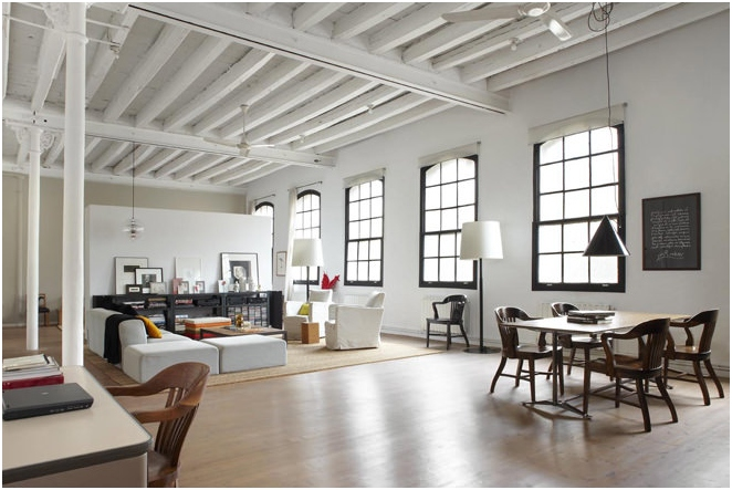Photos of the interior in the style of a loft