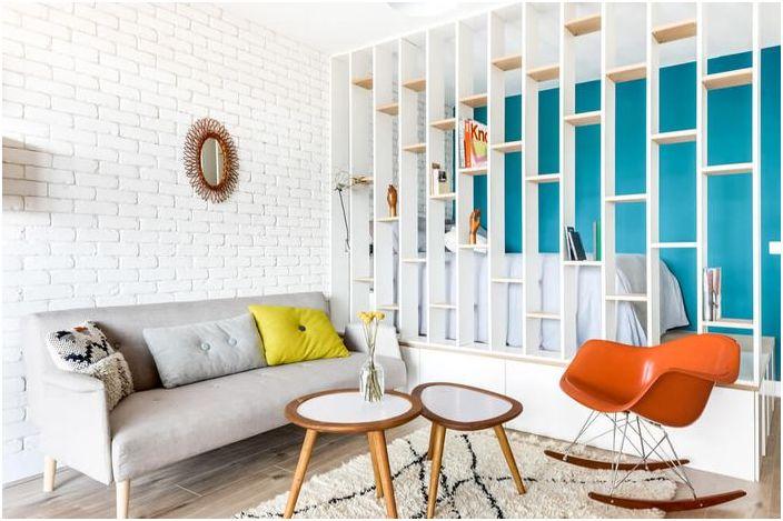 В малкия апартамент, който не е в близост: 25 квадратни метра от стилен дизайн в Parizhef