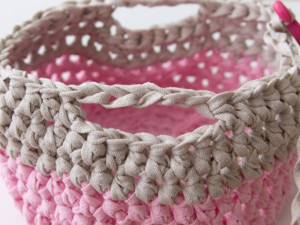 knitted crochet basket