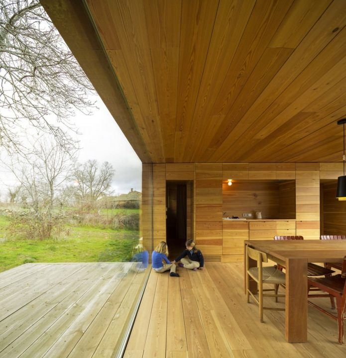 The interior of a modern house with a flat roof