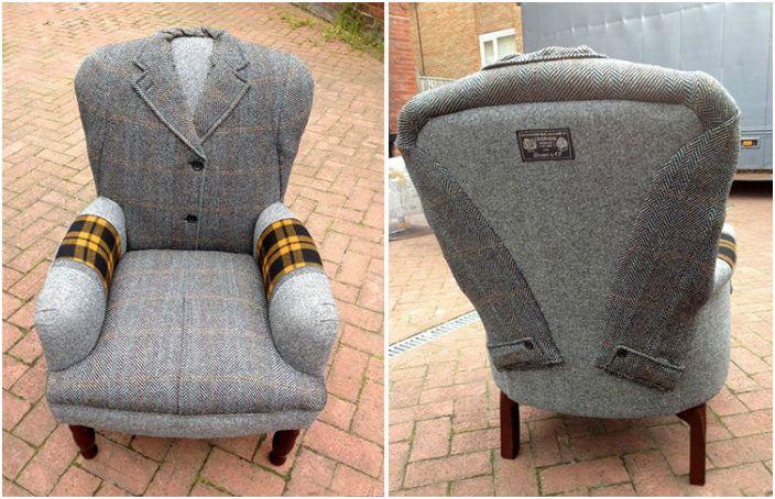 Палта, палта и якета като тапицерия: брилянтни идеи от британската студиото
