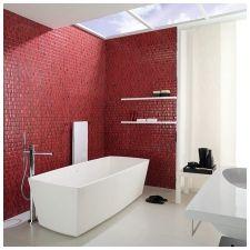 характеристики на дизайна баня в червено и бяло