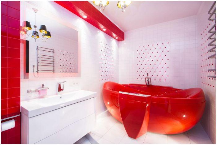 Cechy Konstrukcyjne Lazienka W Kolorze Czerwonym I Bialym
