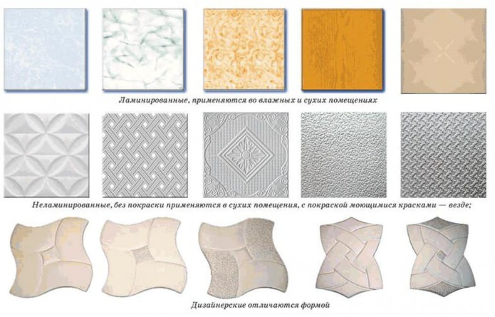 types of foam tile ceiling