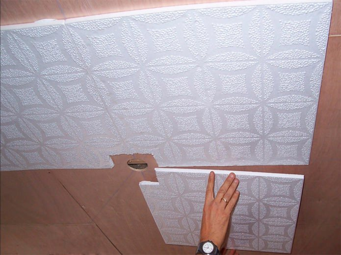 sticky foam tiles on the ceiling
