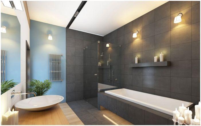 Баня дизайн сиви плочки от стаята: стилове, комбинации, мебели