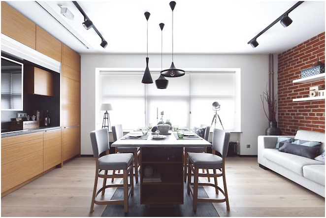 Modern pendant lights in the interior