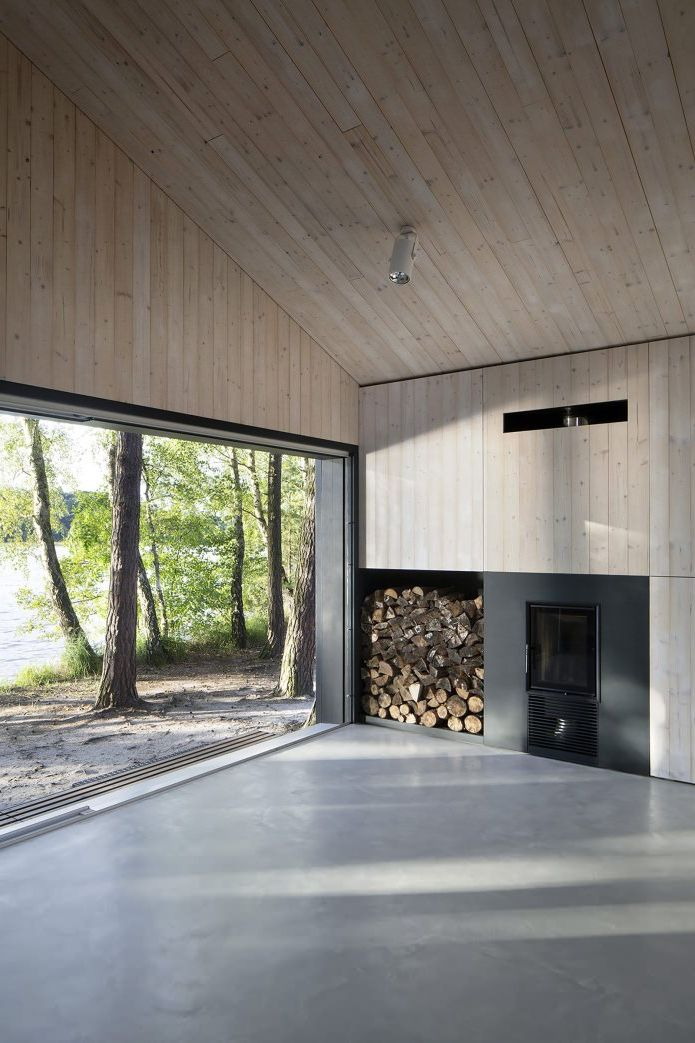 Fireplace in a small modern house
