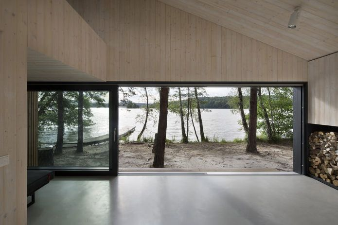 View of the lake from a small modern house