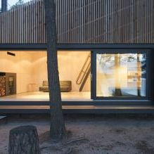 The modern design of a small private house in the woods 3
