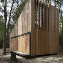 The modern design of a small private house in the woods-5