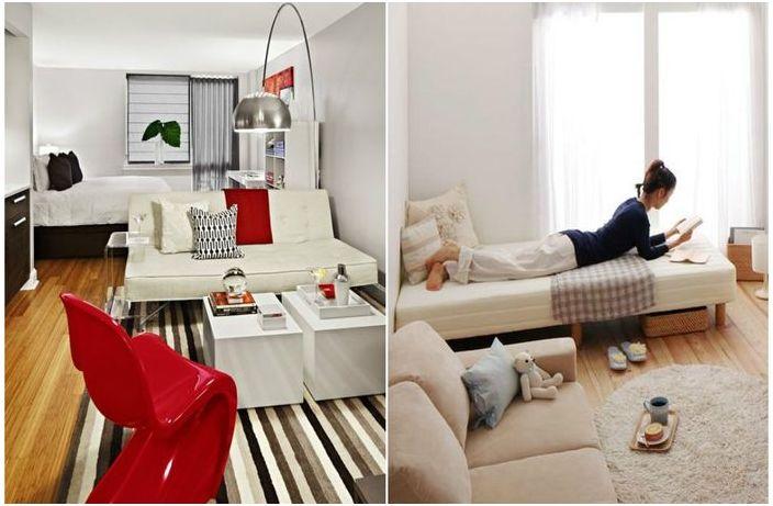 거실, 침실 : 공간 영역과 침대를위한 공간을 만들기 위해 19 가지 ...