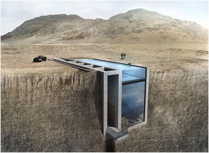 Стъклената къща в скалата за тази супер-злодей