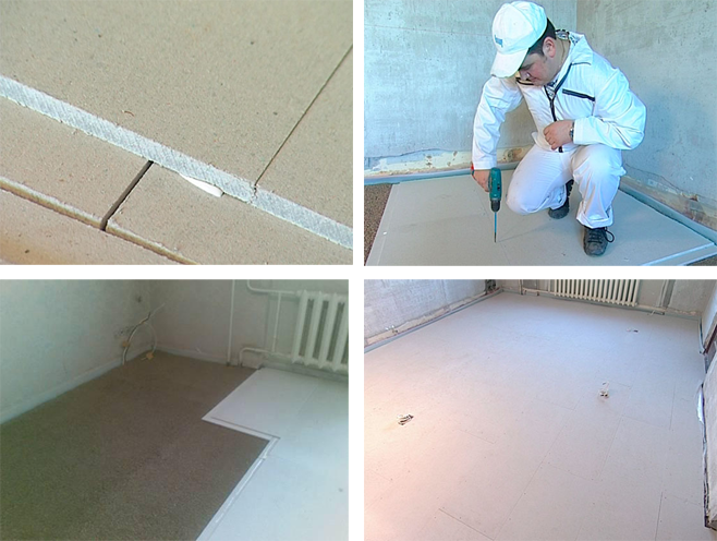using a dry floor screed