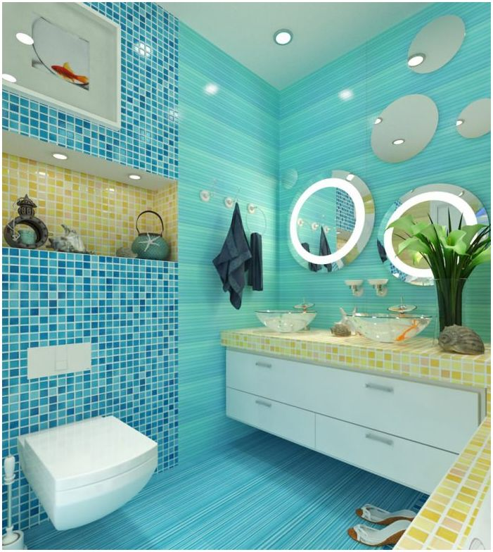 Turkusowa łazienka Dizainallcom