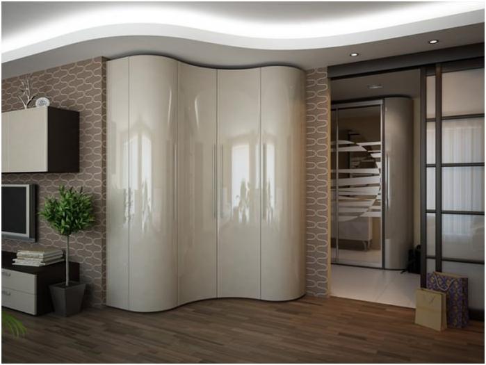 Видове дизайн гардероби: прав, ъглова, радиус