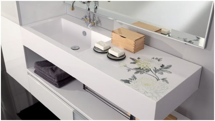 Built molded sink in the bathroom