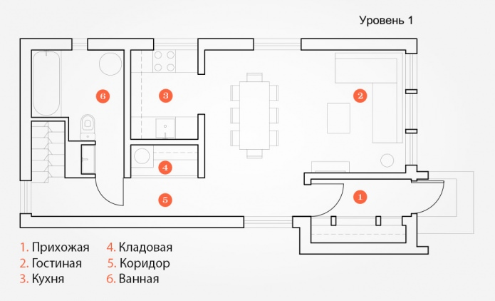 layout design house of 100 square meters. m.