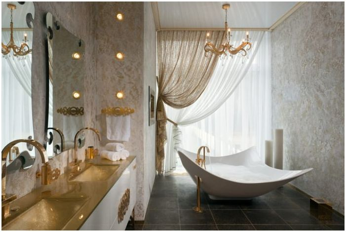 Art Deco style in the bathroom gold color