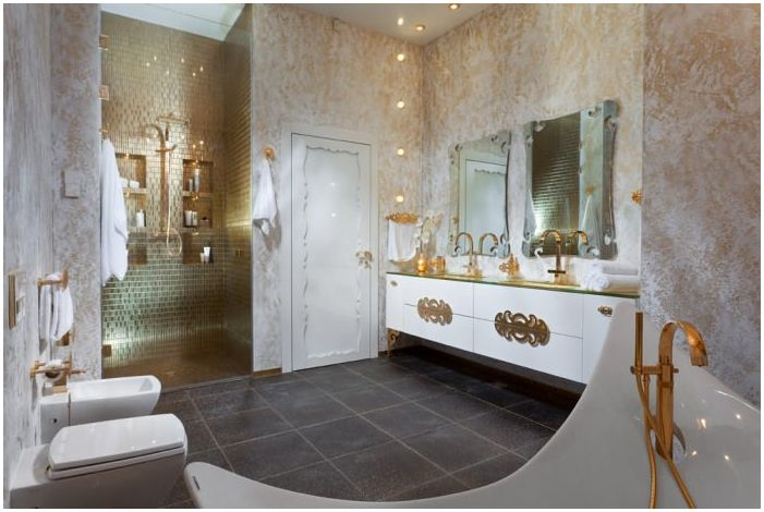 Art Deco bathroom gold color room