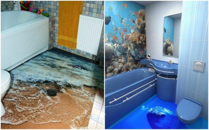 10 оригинални примери баня интериор с реалистични 3D-рисунки на пода