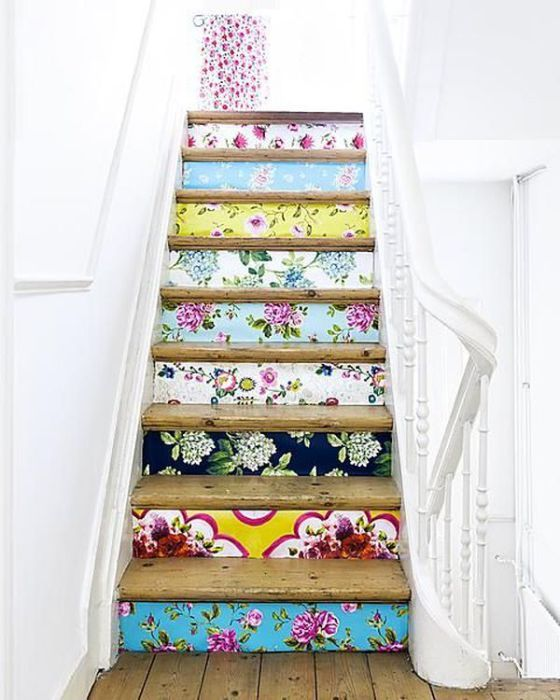 Wallpapers of different colors and textures will give a unique staircase.