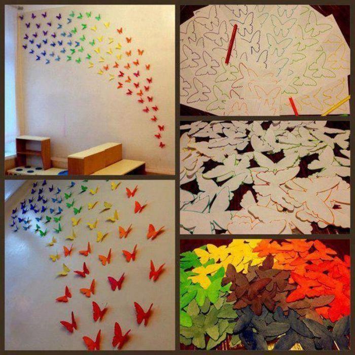 Как сделать бабочек на всю стену 113
