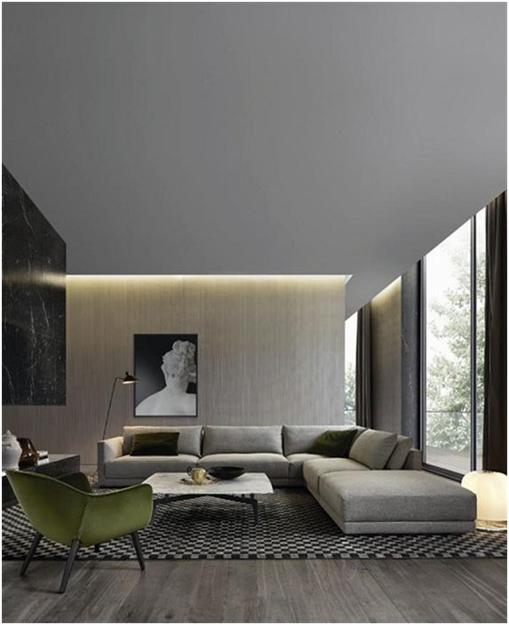 Making a living shades of gray in the Italian style with concealed lighting.