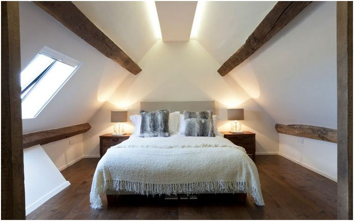 Minimalism and sense of proportion in the design of bedrooms stressed concealed lighting.