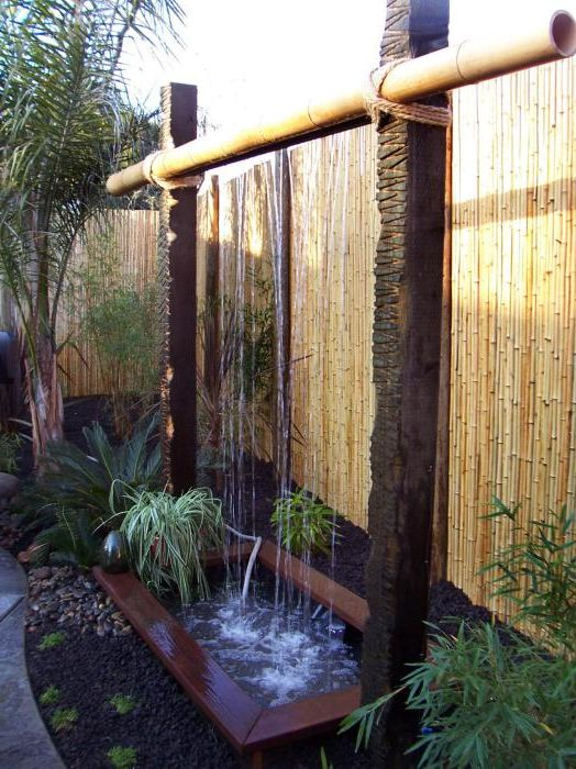 Unusual waterfall from bamboo.