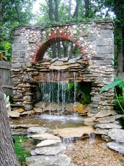 Waterfall in a stone arch.