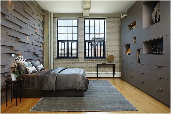Industrial Style In The Interior. The Bedroom In The Dark Shades Of Gray,  Opens All The Mysteries And Specificity Of Part 80
