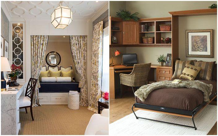 25 홈 오피스는 아늑한 게스트 침실로 변환 dizainall.com