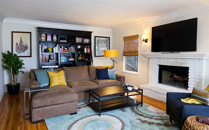 Modern living room with yellow and blue accents