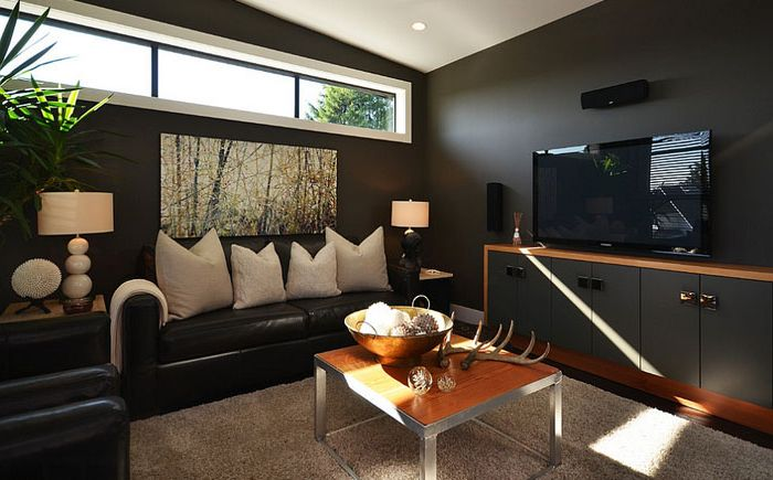 Living room in black colors of the Dawna Jones Design