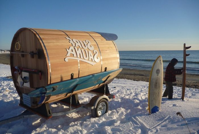 Mobile sauna for surfers.