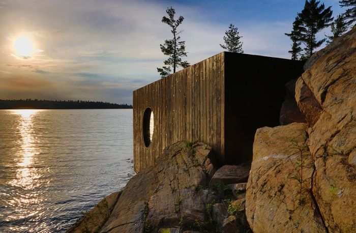 Sauna on the shore of Lake Huron (Canada).