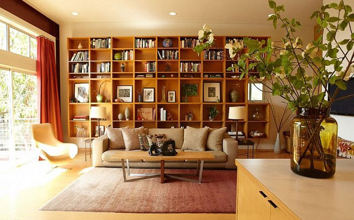 Interior living room with book racks on the Platform Home Staging