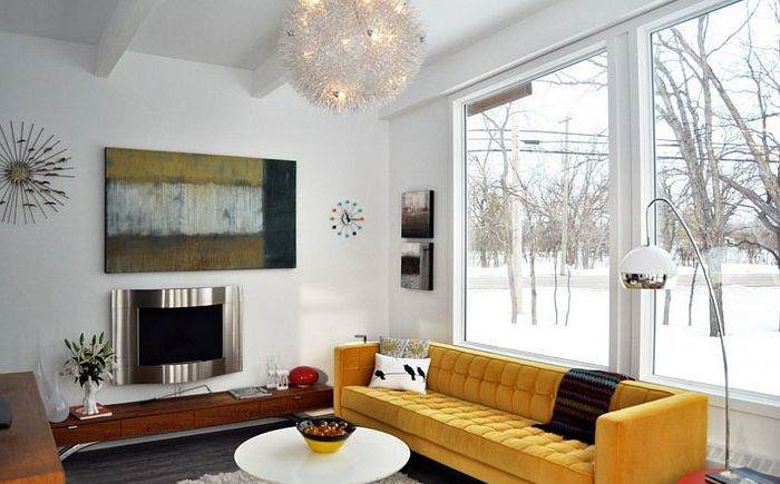 Yellow accentual sofa in white interior